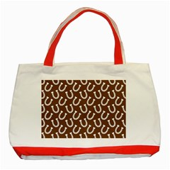 Horse Shoes Iron White Brown Classic Tote Bag (red) by Mariart
