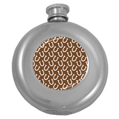 Horse Shoes Iron White Brown Round Hip Flask (5 Oz) by Mariart