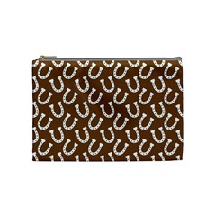 Horse Shoes Iron White Brown Cosmetic Bag (medium)  by Mariart