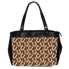 Horse Shoes Iron White Brown Office Handbags (2 Sides)  by Mariart