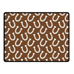 Horse Shoes Iron White Brown Fleece Blanket (small)