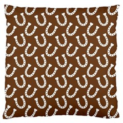 Horse Shoes Iron White Brown Large Cushion Case (one Side) by Mariart