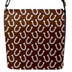 Horse Shoes Iron White Brown Flap Messenger Bag (s) by Mariart
