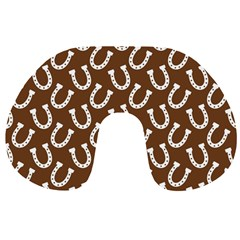 Horse Shoes Iron White Brown Travel Neck Pillows by Mariart