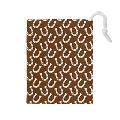 Horse Shoes Iron White Brown Drawstring Pouches (large)  by Mariart
