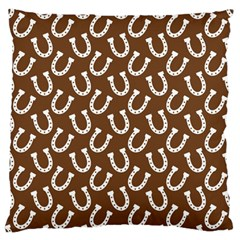 Horse Shoes Iron White Brown Large Flano Cushion Case (two Sides) by Mariart