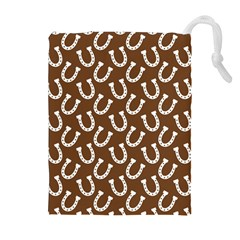 Horse Shoes Iron White Brown Drawstring Pouches (extra Large) by Mariart