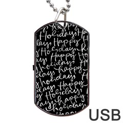 Happy Holidays Dog Tag Usb Flash (two Sides)