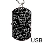 Happy Holidays Dog Tag USB Flash (Two Sides) Front