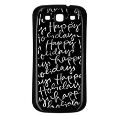 Happy Holidays Samsung Galaxy S3 Back Case (black) by Mariart