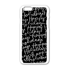 Happy Holidays Apple Iphone 6/6s White Enamel Case by Mariart