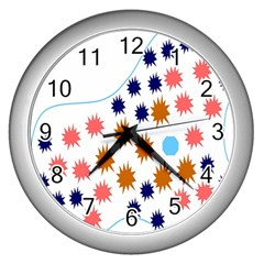 Island Top View Good Plaid Spot Star Wall Clocks (silver)  by Mariart
