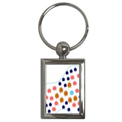 Island Top View Good Plaid Spot Star Key Chains (rectangle)  by Mariart