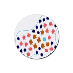 Island Top View Good Plaid Spot Star Rubber Coaster (round)  by Mariart