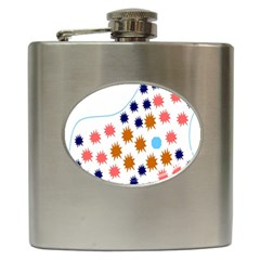 Island Top View Good Plaid Spot Star Hip Flask (6 Oz) by Mariart