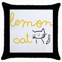 Lemon Animals Cat Orange Throw Pillow Case (black) by Mariart