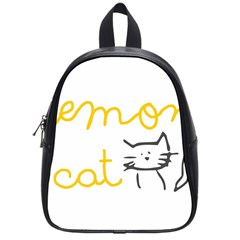 Lemon Animals Cat Orange School Bags (small)  by Mariart