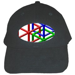 Impossible Cubes Red Green Blue Black Cap by Mariart