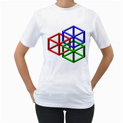 Impossible Cubes Red Green Blue Women s T Shirt (white) (two Sided) by Mariart
