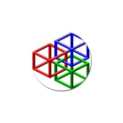 Impossible Cubes Red Green Blue Golf Ball Marker (10 Pack) by Mariart