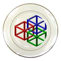Impossible Cubes Red Green Blue Porcelain Plates by Mariart