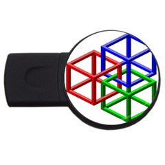 Impossible Cubes Red Green Blue Usb Flash Drive Round (4 Gb) by Mariart