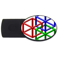 Impossible Cubes Red Green Blue Usb Flash Drive Oval (4 Gb) by Mariart