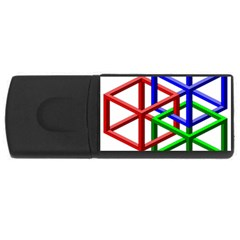 Impossible Cubes Red Green Blue Usb Flash Drive Rectangular (4 Gb) by Mariart