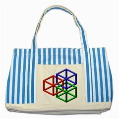 Impossible Cubes Red Green Blue Striped Blue Tote Bag