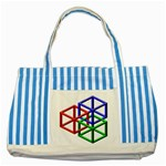 Impossible Cubes Red Green Blue Striped Blue Tote Bag Front
