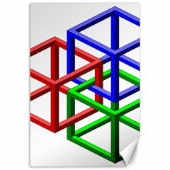 Impossible Cubes Red Green Blue Canvas 24  X 36  by Mariart