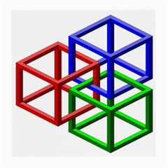 Impossible Cubes Red Green Blue Medium Glasses Cloth by Mariart
