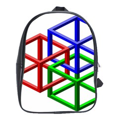 Impossible Cubes Red Green Blue School Bags(large)