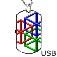 Impossible Cubes Red Green Blue Dog Tag Usb Flash (one Side) by Mariart