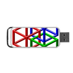 Impossible Cubes Red Green Blue Portable Usb Flash (two Sides) by Mariart