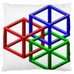 Impossible Cubes Red Green Blue Large Flano Cushion Case (one Side) by Mariart