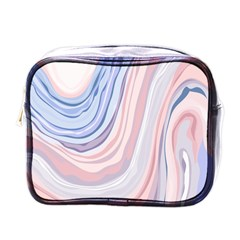 Marble Abstract Texture With Soft Pastels Colors Blue Pink Grey Mini Toiletries Bags by Mariart