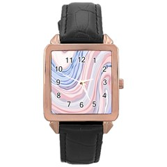Marble Abstract Texture With Soft Pastels Colors Blue Pink Grey Rose Gold Leather Watch  by Mariart