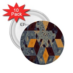 Apophysis Isometric Tessellation Orange Cube Fractal Triangle 2 25  Buttons (10 Pack)  by Mariart