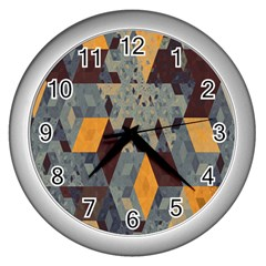 Apophysis Isometric Tessellation Orange Cube Fractal Triangle Wall Clocks (silver)  by Mariart