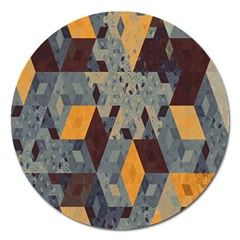 Apophysis Isometric Tessellation Orange Cube Fractal Triangle Magnet 5  (round)