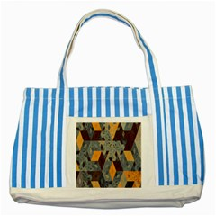 Apophysis Isometric Tessellation Orange Cube Fractal Triangle Striped Blue Tote Bag by Mariart