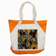 Apophysis Isometric Tessellation Orange Cube Fractal Triangle Accent Tote Bag by Mariart