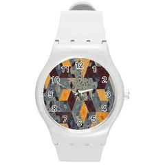 Apophysis Isometric Tessellation Orange Cube Fractal Triangle Round Plastic Sport Watch (m) by Mariart