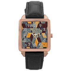 Apophysis Isometric Tessellation Orange Cube Fractal Triangle Rose Gold Leather Watch  by Mariart