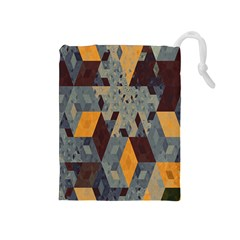 Apophysis Isometric Tessellation Orange Cube Fractal Triangle Drawstring Pouches (medium)  by Mariart