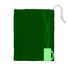 Mug Green Hot Tea Coffe Drawstring Pouches (extra Large) by Mariart