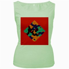 Plaid Red Sign Orange Blue Women s Green Tank Top by Mariart