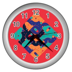 Plaid Red Sign Orange Blue Wall Clocks (silver)  by Mariart