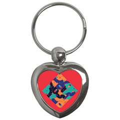 Plaid Red Sign Orange Blue Key Chains (heart)  by Mariart